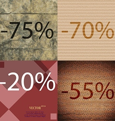 70 20 55 icon set of percent discount on abstract vector