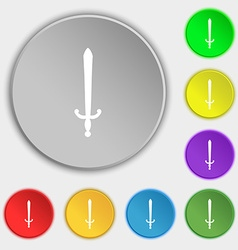 Sword icon sign symbol on five flat buttons vector