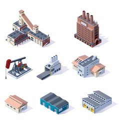 isometric industrial buildings vector image