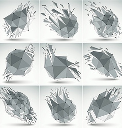 Collection of abstract 3d faceted figures with vector