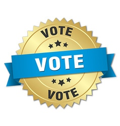 Vote 3d gold badge with blue ribbon vector