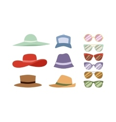 Summer hats and sunglasses set vector