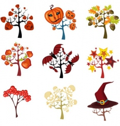 Halloween tree set vector
