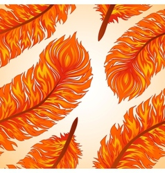 Seamless background with fiery feathers vector