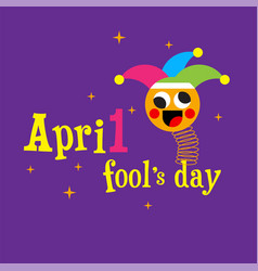 April fools day jester hat silly glasses and must vector