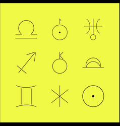 Astrology linear icon set vector