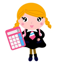 Beautiful blond school girl with calculator vector image vector image