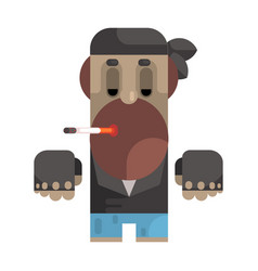 Biker in bandana and leather vest smoking vector
