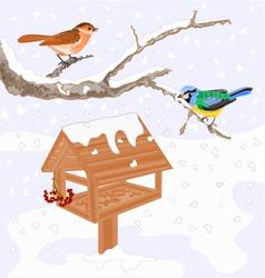 Birds titmouse warbler and feeder winter theme vector