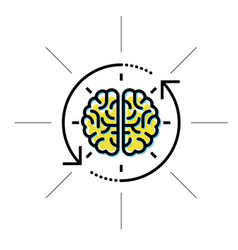 brain in sight - intellect research and knowledge vector image