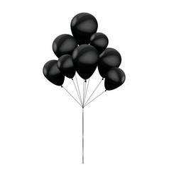 Bunch black balloons celebration party vector