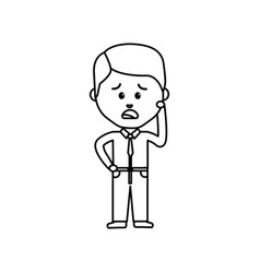 businessman line cartoon face sad expression vector image