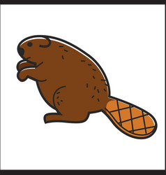 canadian beaver isolated canada traditional vector image