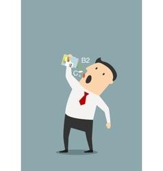 Cartoon businessman taking vitamins pills vector image