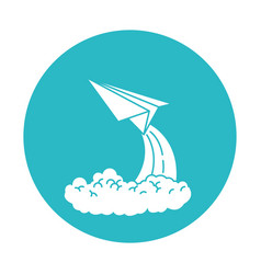 Circle light blue with paper plane launch vector