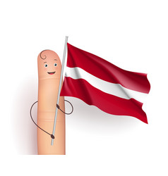 Finger with latvia waving flag vector