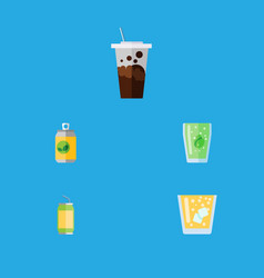 Flat icon drink set of beverage lemonade cup and vector
