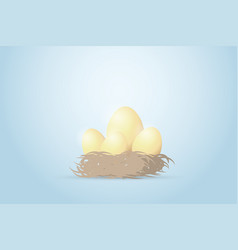 four golden eggs in the nest investment concept vector image