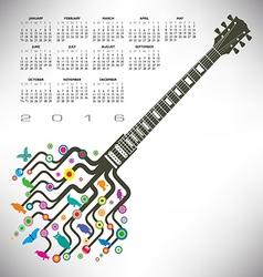 Funky guitar calendar vector