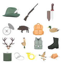 Hunting and trophy cartoon icons in set collection vector