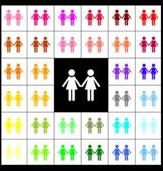 Lesbian family sign felt-pen 33 colorful vector