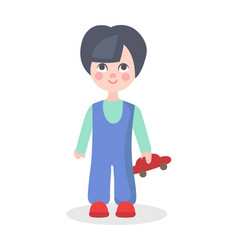 Little boy playing with car toy flat icon vector