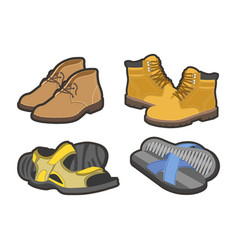 men shoes types sandals or boot sneakers vector image vector image