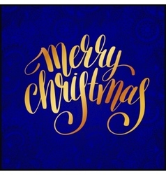 Merry Christmas gold calligraphic hand lettering vector image vector image