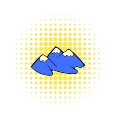 Mountain icon in comics style vector