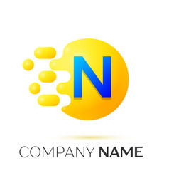 N letter splash yellow dots and circle bubble vector