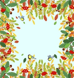 Ornament autumn rowan leaves acorns and birds tits vector