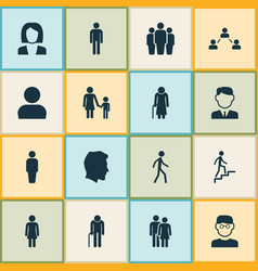 People icons set collection of work man grandpa vector