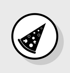 Pizza simple sign flat black icon in vector