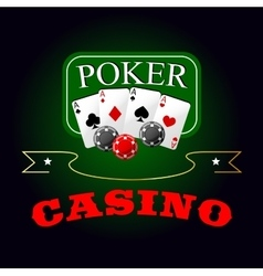 Poker symbol with playing cards and gambling chips vector image