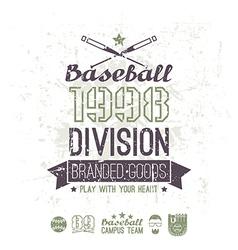 Retro emblem baseball division of college vector image