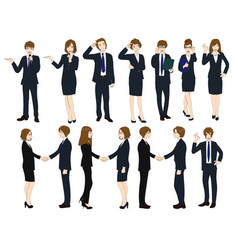set cartoon business people no2 vector image vector image