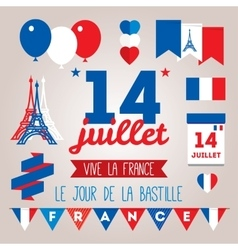 Set design elements for The Bastille Day 14 july vector image