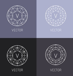Set of abstract jewelry logo design templates vector