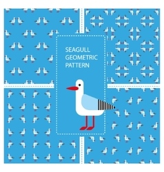 Set of seamless textures with geometric seagulls vector