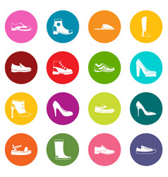 shoe icons many colors set vector image