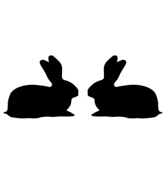 two bunny silhouette on a white background vector image vector image