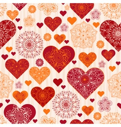 Valentine pattern with red and orange vintage hear vector