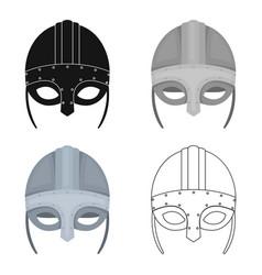 Viking helmet icon in cartoon style isolated on vector