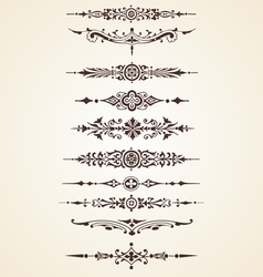 Vintage decorative ornaments text dividers set vector