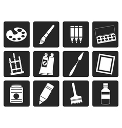 Black painter drawing and painting icons vector