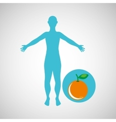 Silhouette orange fruit design vector