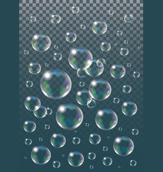 Realistic isolated soap bubbles on the vector
