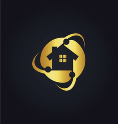 Home circle protect technology gold logo vector
