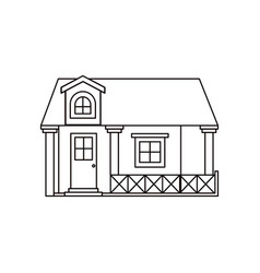Monochrome silhouette facade house with railing vector