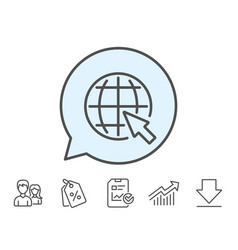 Globe with mouse cursor line icon world sign vector